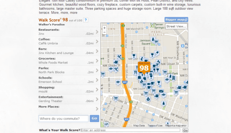 Walk Score Maps on IDX Broker Platinum Active Listing Details