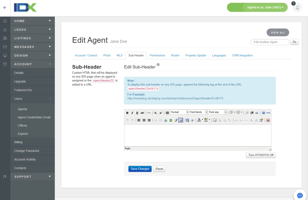 Edit Agent Sub-Header