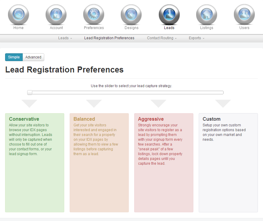 IDX Broker Platinum Lead Registration Preferences